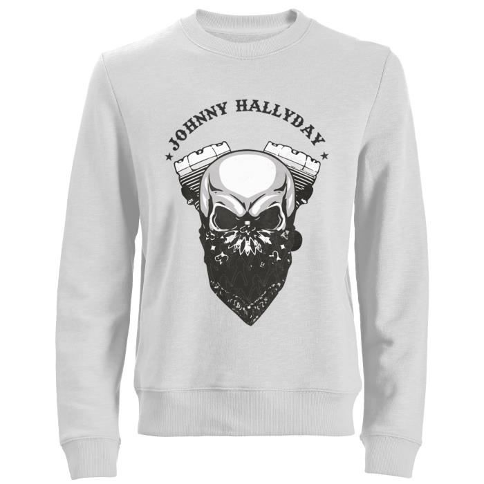 Sweat Biker Johnny Hallyday - Homme - Blanc