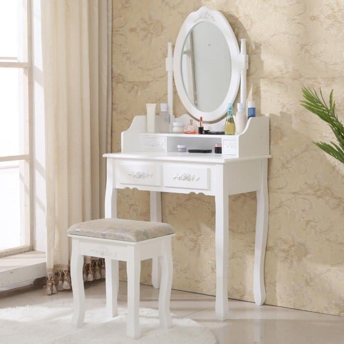 COIFFEUSE Coiffeuse blanche avec miroir et tabouret pour cha