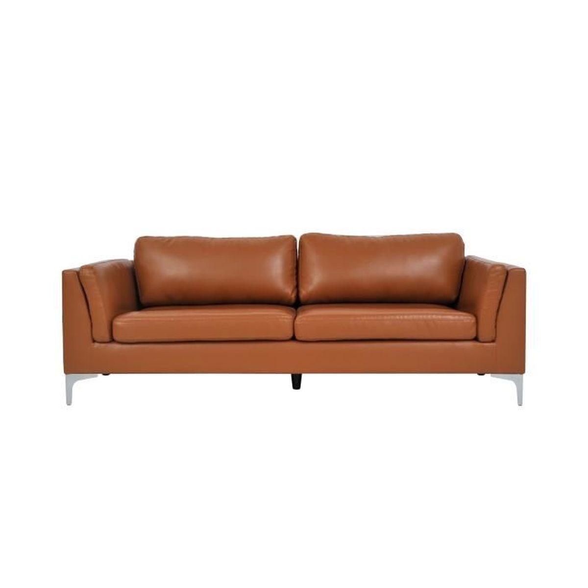 Changer La Couleur D Un Canapé En Cuir canapé 3 places en cuir synthétique couleur camel - achat