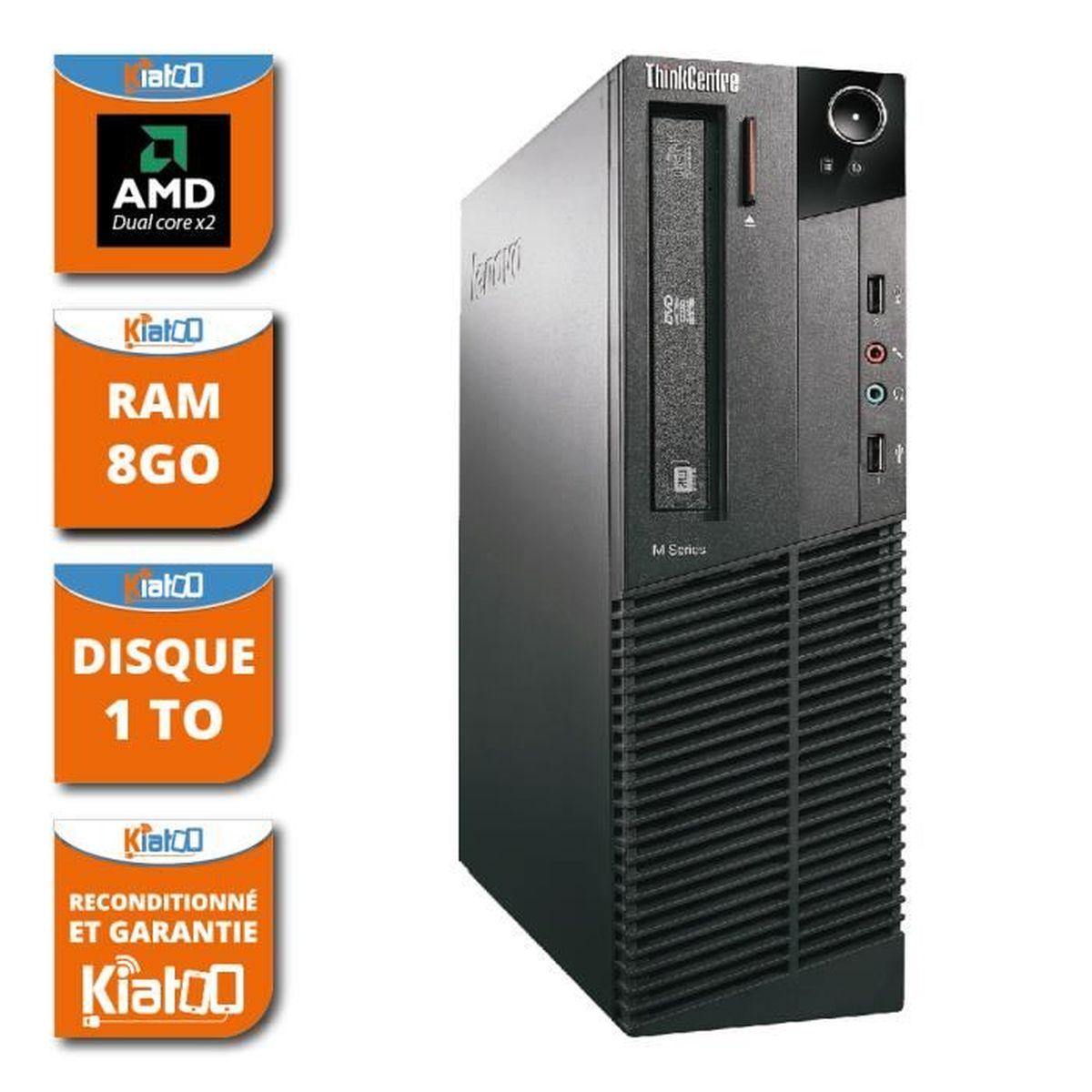 UNITÉ CENTRALE  ordinateur de bureau LENOVO M75 amd dual core 8go