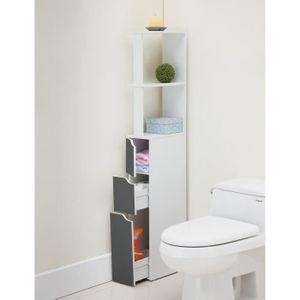 COLONNE - ARMOIRE WC TOP Colonne de toilette L 15 cm - Blanc et gris ma