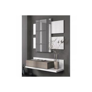CONSOLE Miroir et console murale blanche d'entrée avec tir