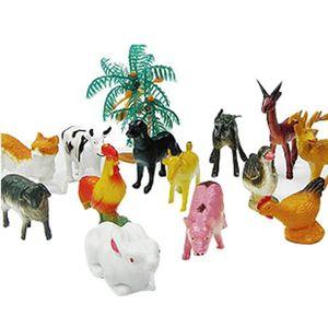 FIGURINE - PERSONNAGE 14 pcs jouet  Les animaux fermes en matière plasti