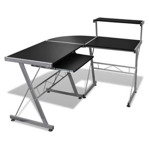 BUREAU  Grande table de bureau noire pour ordinateur Table