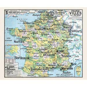 AFFICHE - POSTER Carte Vidal Lablache 5 - FRANCE VILLES (reproducti