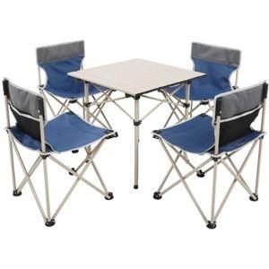 Pour Ext/érieur Jardin Pique-Nique Camping R/églable En Aluminium Et Mdf Couleur Blanc//Cr/ème Chaises De Camping Pliante Pliable Portable 120 Cm Ecd Germany Set Table