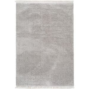 COUVERTURE - PLAID Tapis shaggy à poils longs Ava Gris clair 160x230
