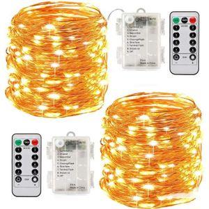 GUIRLANDE LUMINEUSE INT 2 x10m Guirlande LED Lumineuse à Pile 100 LEDs Fon
