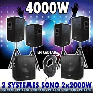 PACK SONO 4000w ! 2 PACK DJ CUBE 1512 SOIT 2 CAISSONS + 4 EN
