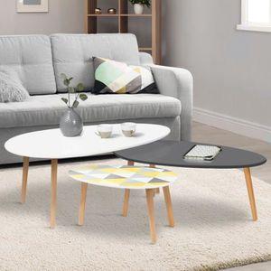 TABLE BASSE Lot de 3 tables basses gigognes laquées blanc / gr