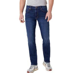 Hommes Wrangler Texas Jeans Standard Droit Jambe Braguette Zip Délavé Bleu
