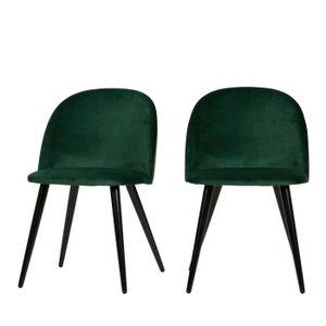 CHAISE Fay - 2 chaises en velours - Couleur - Vert forêt