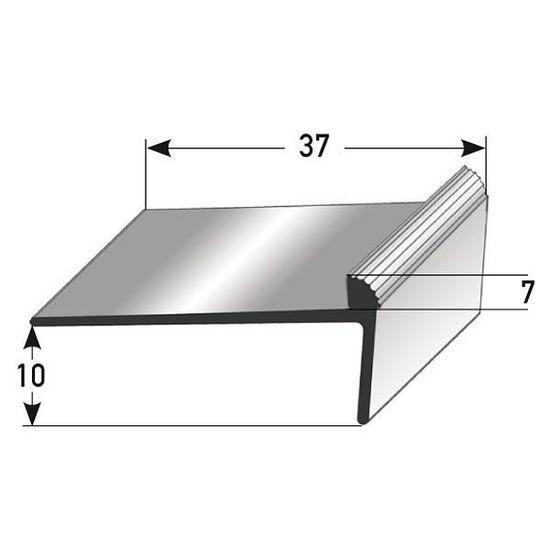 for/é aluminium anodis/é 45 mm x 58 mm sans insert Nez de marche // Corni/ère pour escaliers couleur: argent 3 m/ètres 3 x 1 m