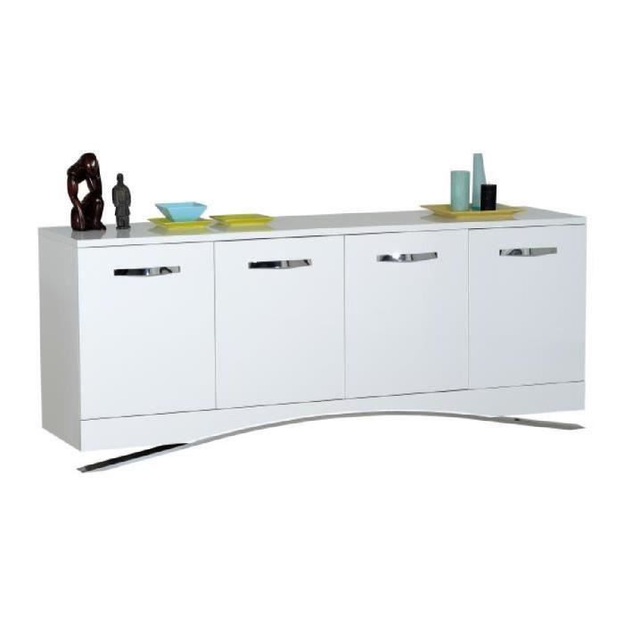 smooth bahut 200 cm laqu blanc brillant achat vente buffet bahut smooth bahut 4 portes. Black Bedroom Furniture Sets. Home Design Ideas