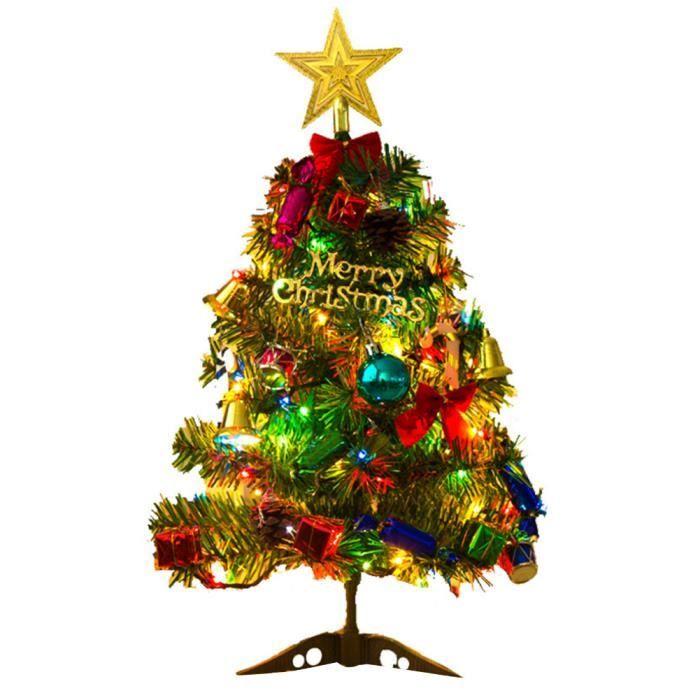 Sapin de Noël artificiel pliable avec guirlande lumineuse LED - Décoration fêtes - 50 cm