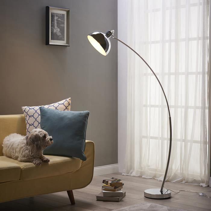 Lampadaire Arco métal arc lampe de sol sur pied abat-jour chrome VN-L00024-EU
