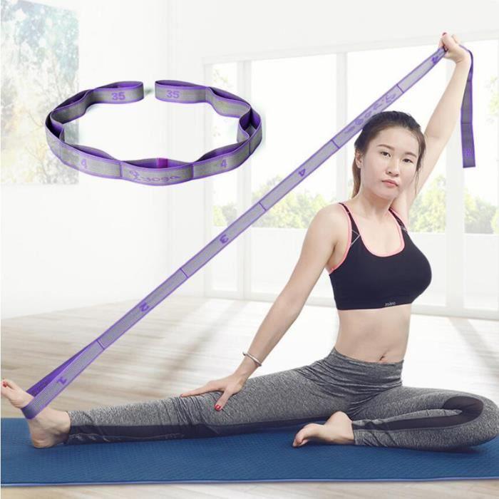 Bande de Resistance élastique pour exercice fitness gym yoga abs ou de pilates - allongement neuf grilles-violet