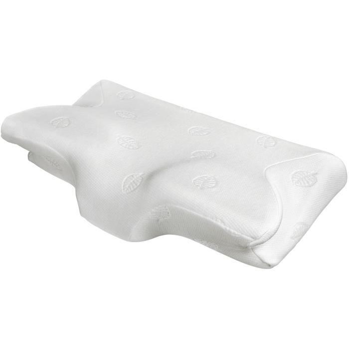 MARNUR Oreiller Ergonomique Orthopédique à Mémoire de Forme Oreiller Premium Cervical Respirant avec Housse Lavable- Certifié Oeko T