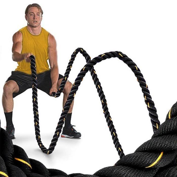 Corde Ondulatoire Sport Exercice Polyester de Combat Fitness 38MM 12M Noir Or