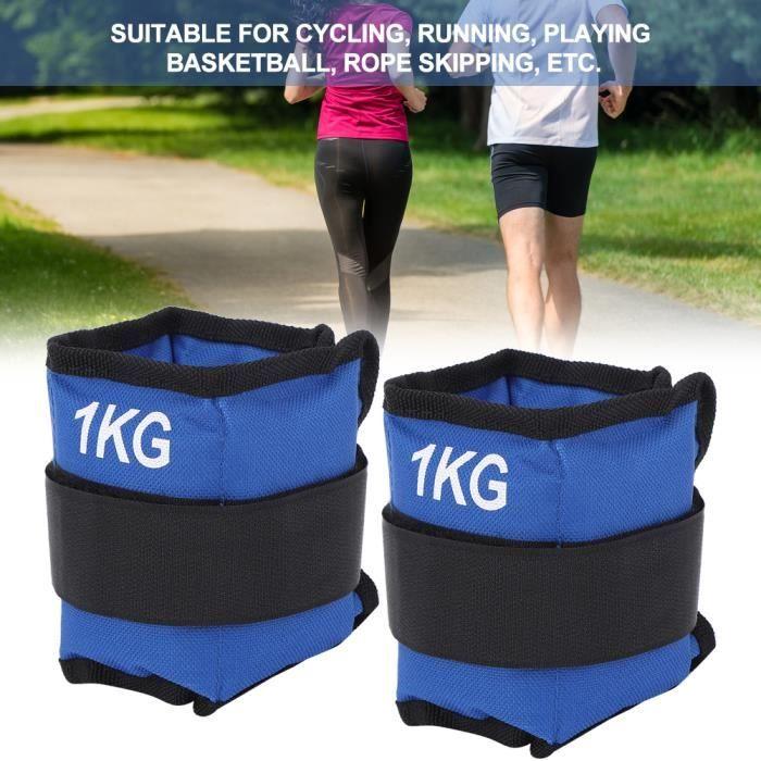2pcs sac de sable poids sangle jambe cheville poignet force équipement de formation pour Gym Fitness Yoga(1 KG)