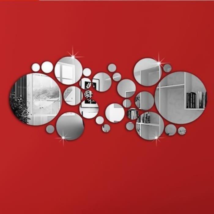 NOVA 30pcs Autocollant Mural Rond Amovible Style Miroir Décoration pour Maison sticker mural