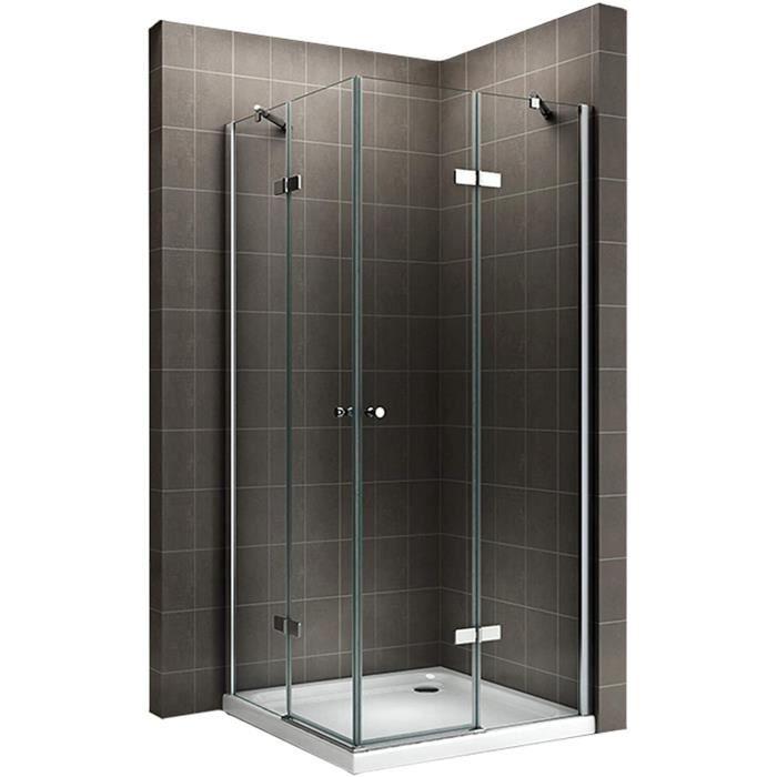 Cabine de douche d'angle - Hauteur 180 cm - verre transparent 70x85 cm - Hauteur : 180