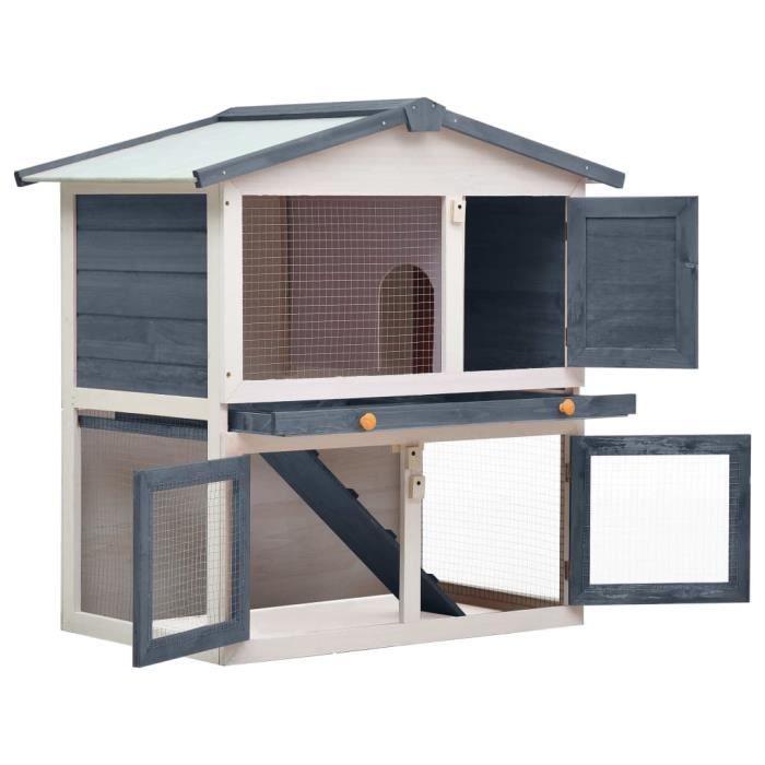 Bonne qualité - Cage pour lapin - Clapier lapin extérieur 3 portes - Cage à Lapin - Gris Bois @2126 :