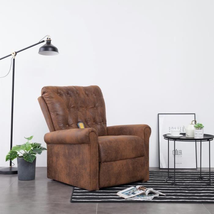 Fauteuil de relaxation grand confort Fauteuil inclinable de massage relax -Chaises Marron Similicuir daim