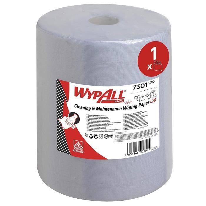 WypAll Essuyeurs Ateliers de Maintenance et Entretien 7301 Maxi Bobine - Extra Large L20 - 1 Bobine d'Essuyeurs Bleus x 500 Essuyeur