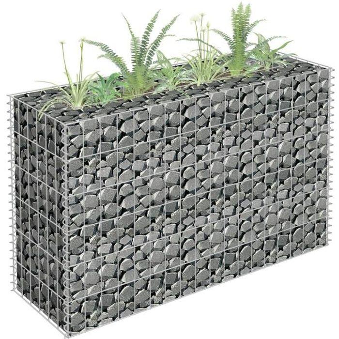Jardinière à gabion Décoration Jardin Terrasse ParterreAcier galvanisé 90x30x60 cm