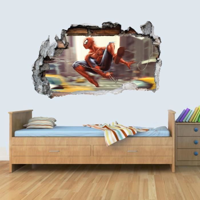 GNG SPIDERMAN Vinyl Smashed Wall Art Decal Stickers Bedroom Boys Girls 3D L