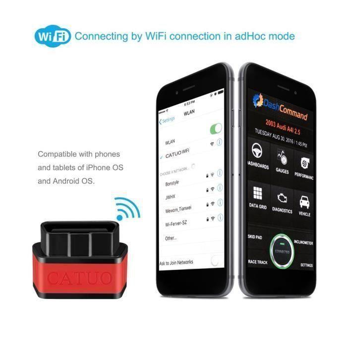 Outil de balayage diagnostique automatique,rouge noir, scanner de défaut de voiture de KW903 WIFI OBD2 wow3573