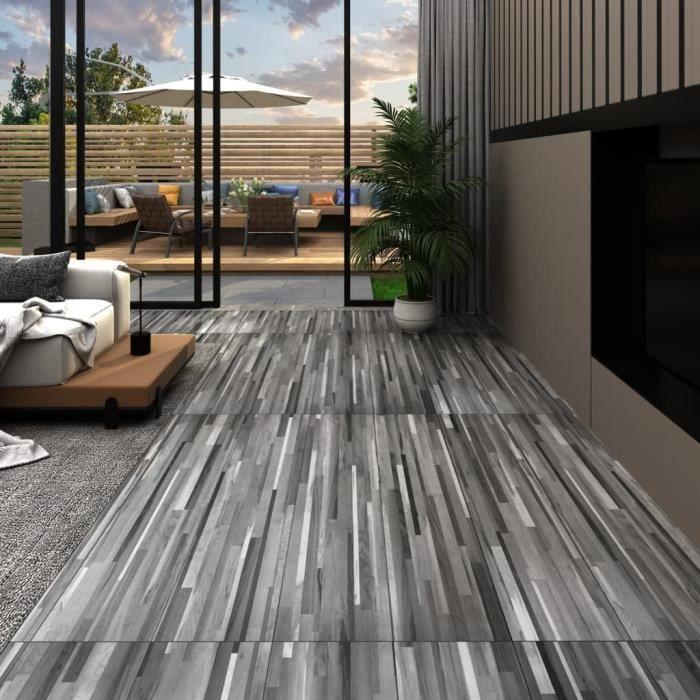 4,46 m2 - 32 pcs Lame de sol PVC 3 mm - Revêtements de sol Contemporain Tapis d'intérieur Autoadhésif - Gris rayé - 91,4x15,2 cm