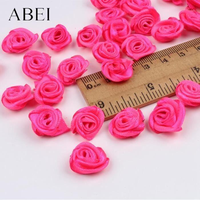 Lot de 300 petites fleurs de rose de 15mm, mélange de couleurs, mini ruban de satin fait à la main, tête de rose, access ES2381