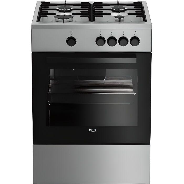 Beko FSG62000DX, Cuisinière, Acier inoxydable, Rotatif, Devant, émail, Cuisinière à gaz