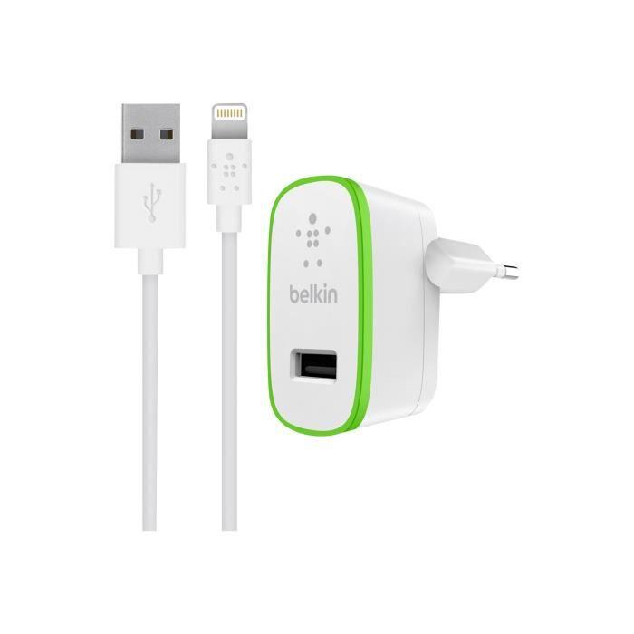 BELKIN Mini chargeur secteur avec câble 2,4A - 5V - 1,20m - Blanc