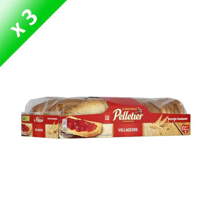 [LOT DE 3] PELLETIER Villageois - Tartines de pain grillé 300g