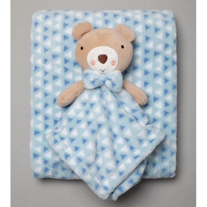 Couverture bébé + doudou carré plaid polaire bleu garçon ourson