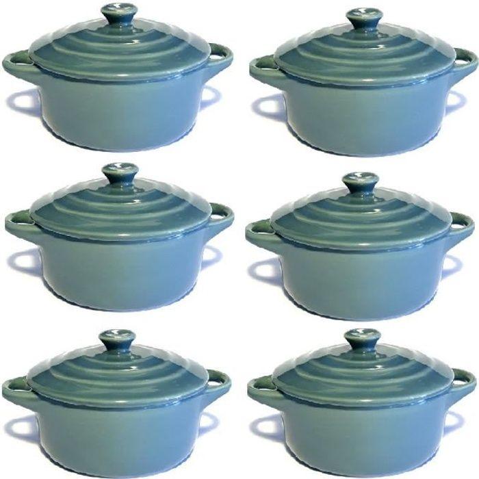 Lot de 6 mini cocottes grises double poignée avec couvercle Hobby Cook
