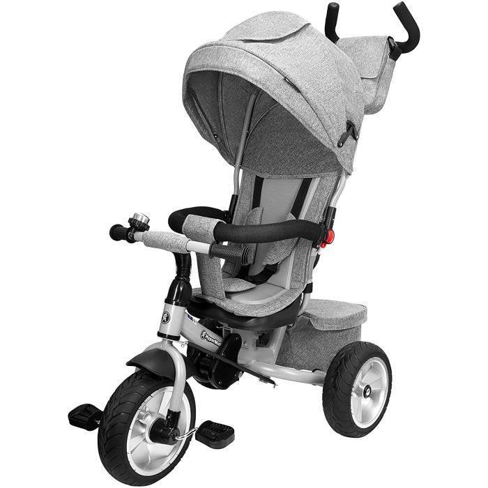 HyperMotion Poussette Tobi Spiner Tricycle Évolutif Enfant 1 à 5ans/Design soigné Roues Gonflées Repose Pieds Poussoir Réglable Gris