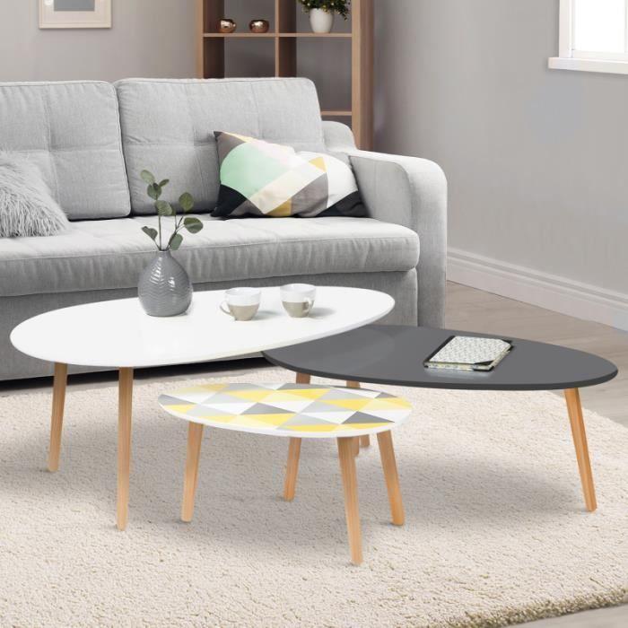 Lot de 3 tables basses gigognes GIGI laquées blanc / gris / motifs graphiques