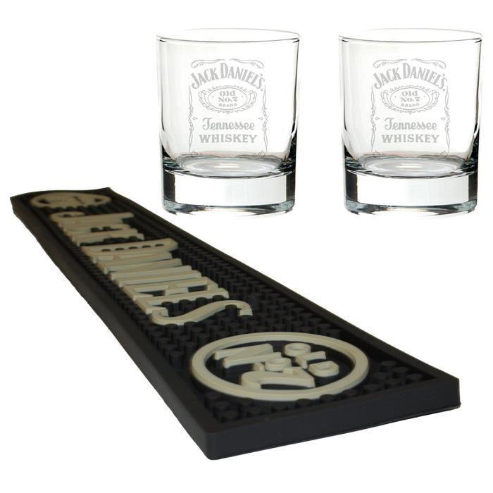 Jack Daniels tapis de bière / bar runner avec 2 verres de mixage