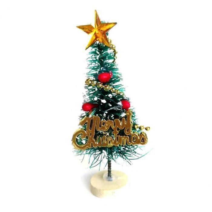 1pc miniature Arbre de Noël Mini Arbres artificiels pin avec bois Rechercher base pour les enfants (Blanc)