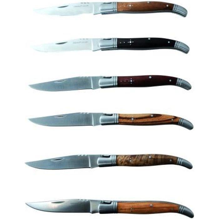 LAGUIOLE - Laguiole 40268402 Ensemble de 6 Couteaux Pliants (21 cm) Lame en Acier Inoxydable Avec Essences de Bois Assortis :