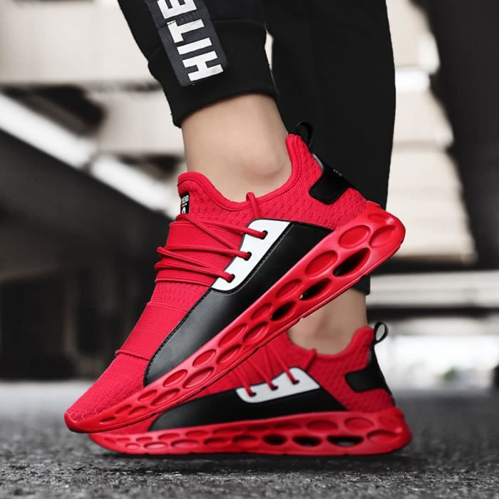 Simple d'Hommes pour adultes Chaussures de tennis léger respirant Sneakers lacées rouge