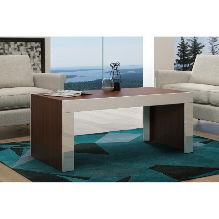 Table basse en MDF couleur noyer mat et bordure blanche laquée 120 cm