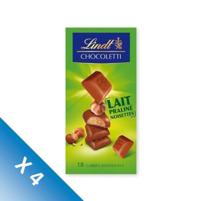 [LOT DE 4] LINDT Chocolat praliné noisette lait - 100 g
