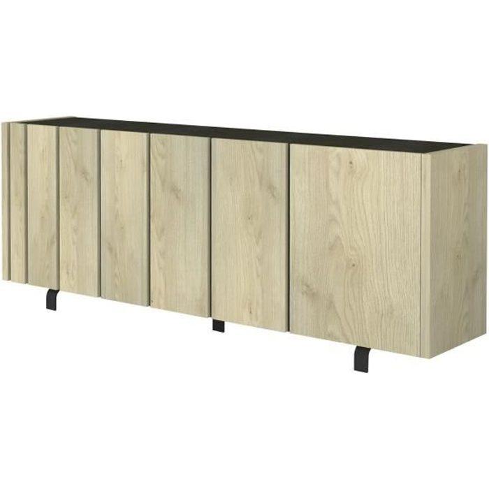 RUSH Buffet bas - Industriel - Décor noir ardoise dorrée et effet bois - L 230 cm