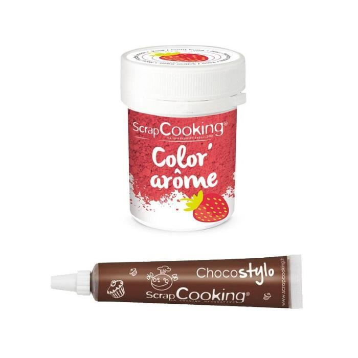 Colorant alimentaire rose arôme fraise + Stylo chocolat