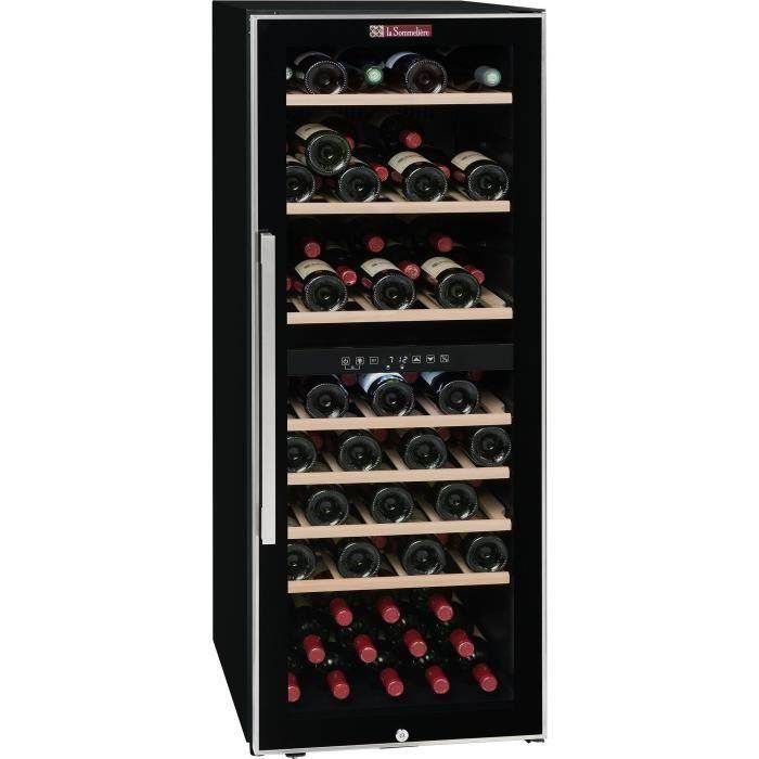 LA SOMMELIERE ECS80.2Z-Cave à vin de service porte vitrée-double zone-cadre noir et inox-75 bouteilles-7 clayettes bois-B